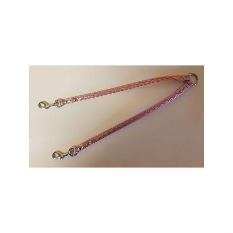Rozdvojka koženka 12x30cm stříbrné vlnky - růžová