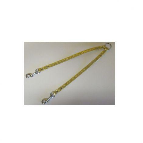 Rozdvojka koženka 12x30cm stříbrné vlnky - zlatá