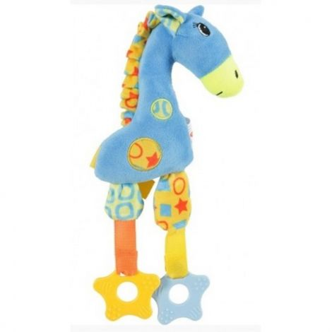 Hračka plyš žirafa 29cm modrá pískací
