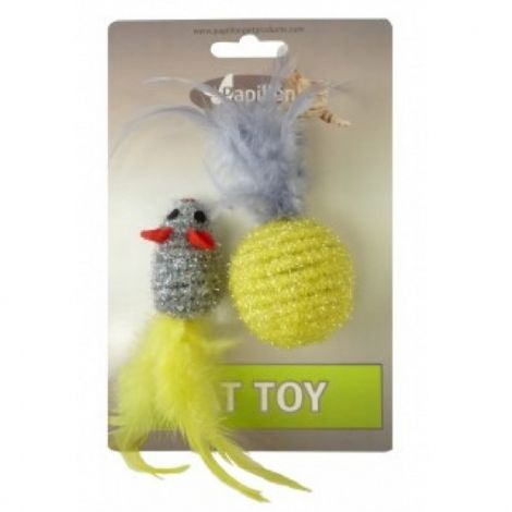 Hračka pro kočky - Myš  šedá 5 cm a míček žlutý 4 cm s peřím na kartě