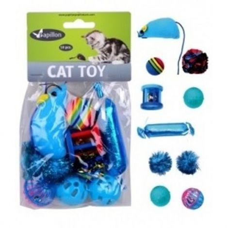 Hračka pro kočky - modré mix 10 ks