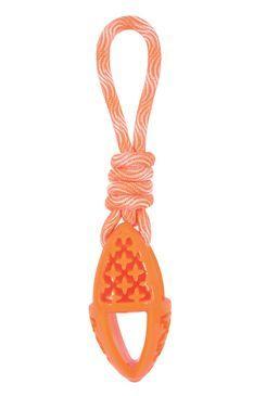 Hračka pes TPR SAMBA ovál s lanem oranžová Zolux