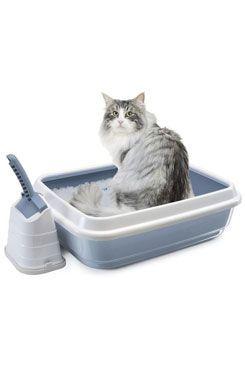 WC kočka s vysok.okrajem a lopatkou modrá 59x40x28cm