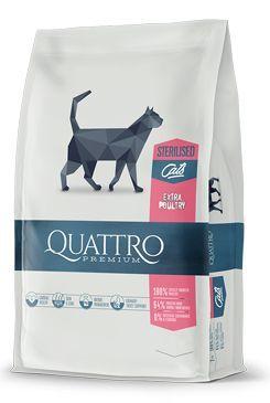 QUATTRO Cat Dry Premium all Breed Steril. Drůbež 400g