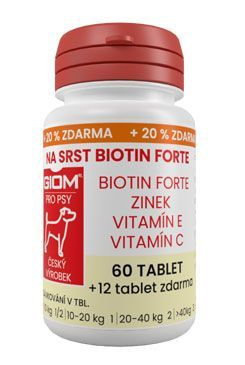 Giom pes Na srst Biotin FORTE 60 tbl+20% zdarma