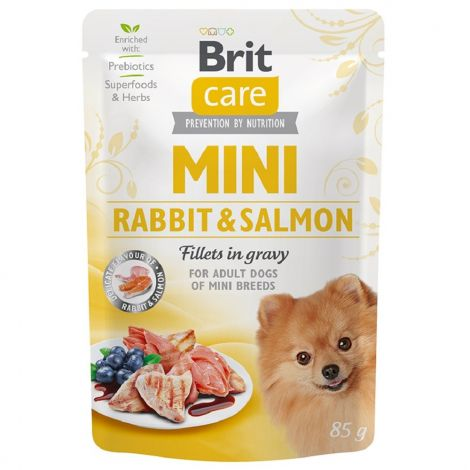 Brit Care Mini Rabbit&Salmon fillets in gravy 85g