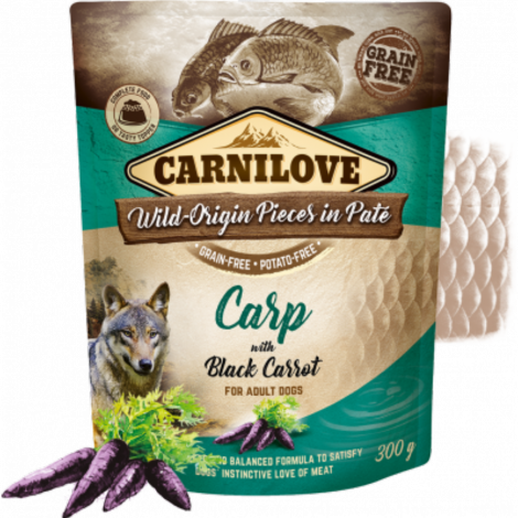 Carnilove Dog Pouch Paté Carp with Black Carrot 300 g