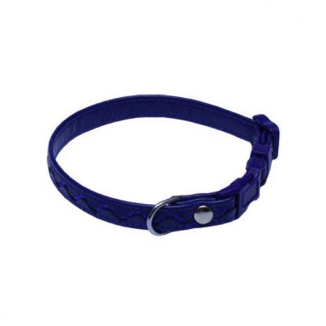 Obojek koženka 1,2x20-35cm stříbrné vlnky - tm.modrý
