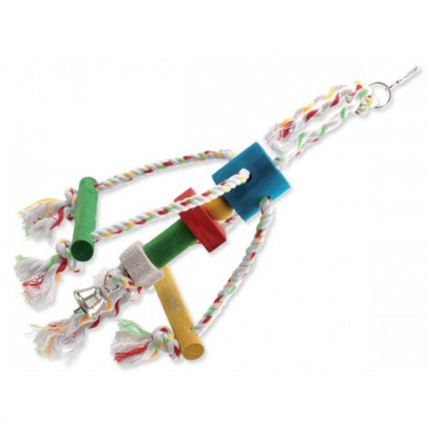 Ptačí hračka BJ Chobotnička závěsná  dřevo-provaz 10x15x29cm