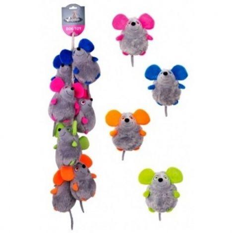 Plyš - myši pískací na laně 14cm