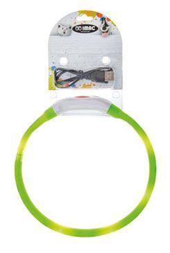 Obojek LED s USB dobíjením 40cm zelený IMAC
