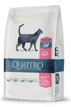QUATTRO Cat Dry Premium all Breed Steril. Drůbež 400g