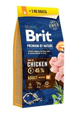 Brit Premium Dog by Nature Adult M 15kg + 3kg