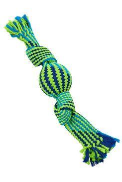Hračka pes BUSTER Pískací lano s balonkem mod/zel 40cm
