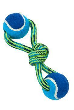 Hračka pes BUSTER Smyčka s tenisáky Double modr/z 18cm