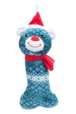 Vánoční Hračka pes Medvěd plyšová kost 31cm TR 1ks