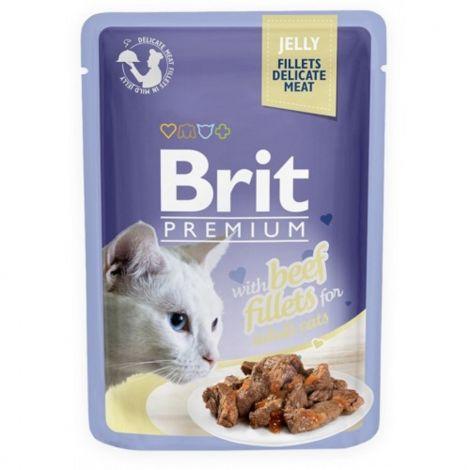 Brit premium 85g cat kaps.filety s hovězím v želé 1ks/24ks