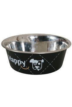 Miska nerez protiskluz pes HAPPY 21cm 1,5l černá Zolux