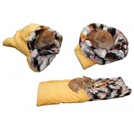 Spací pytel pro kočky XL-žlutá/kočka