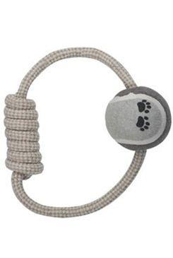 Hračka pes natur kruhový provaz s klubíčkem 6,5x20cm